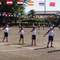 校庭での運動会の練習が始まりました